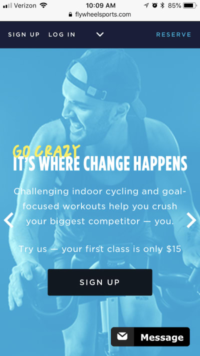 The Flywheel Sports home page