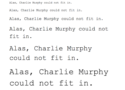 An example of font sizes