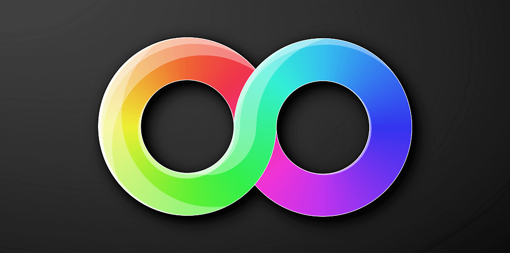Screenshot of my version. Shows a thick infinity symbol with a rainbow gradient filling its two loops and some highlights over this gradient.