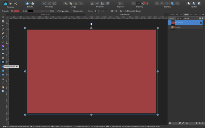 Click the Rectangle tool and drag it along the canvas. Fill it with a random color.