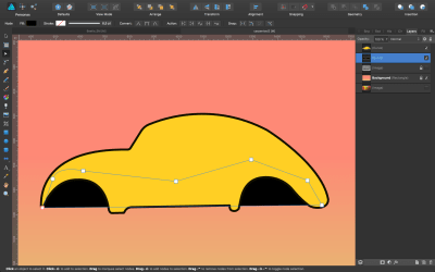 Black shape behind the car bodywork.