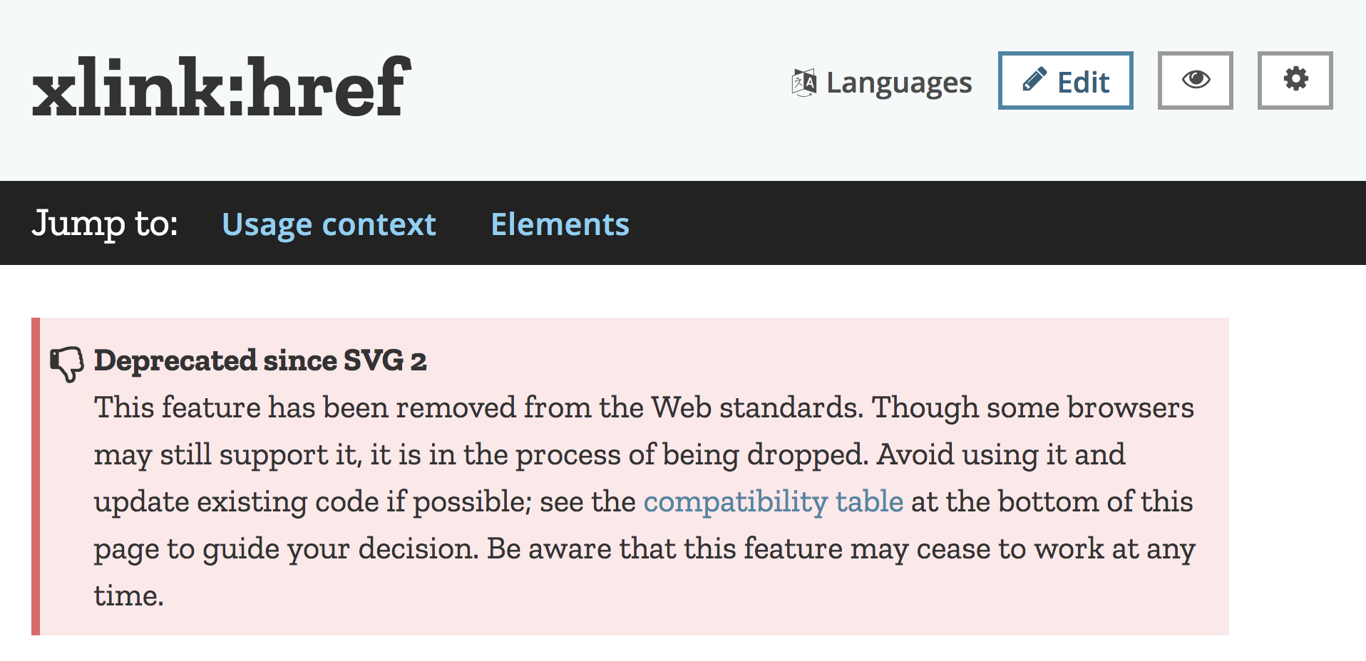 Deprecated since SVG 2 This feature has been removed from the Web standards. Though some browsers may still support it, it is in the process of being dropped. Avoid using it and update existing code if possible; see the compatibility table at the bottom of this page to guide your decision. Be aware that this feature may cease to work at any time.