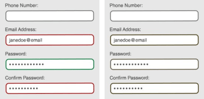 A form with color-based indicators