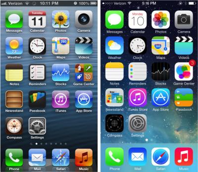 iPhone's home screen (iOS 6 versus iOS 7).