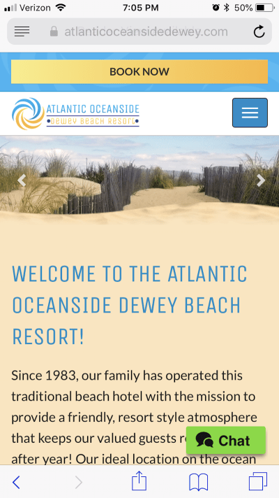 "The top of the Atlantic Oceanside page displays a ""Book Now"" button."