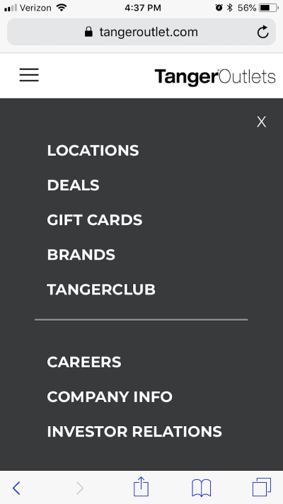 he Tanger Outlets navigation includes a page dedicated to Locations.