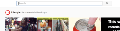 YouTube homepage with search bar already in focus