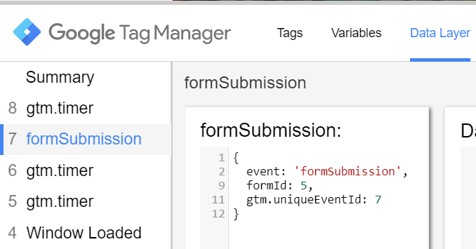 Form Submission Data Layer Event