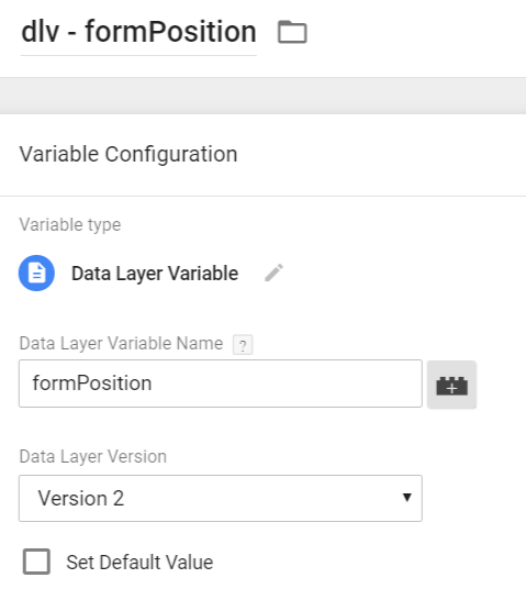 Form position - data layer variable