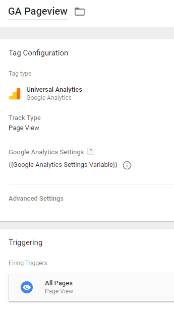 Google Analytics Pageview Tag