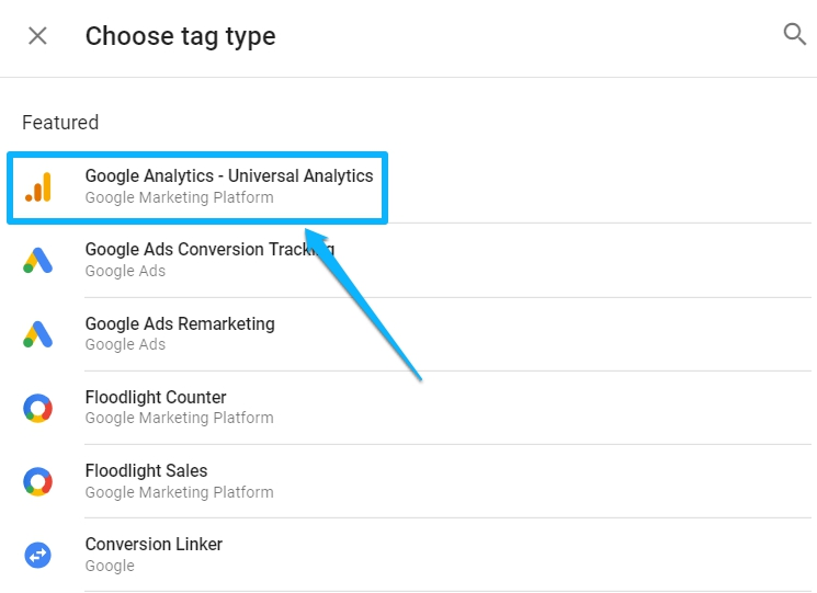 Universal Analytics tag type
