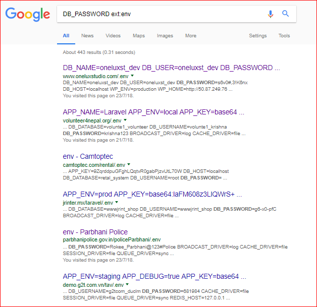 Example result on Google