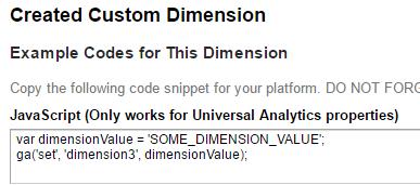 google analytics custom dimension code