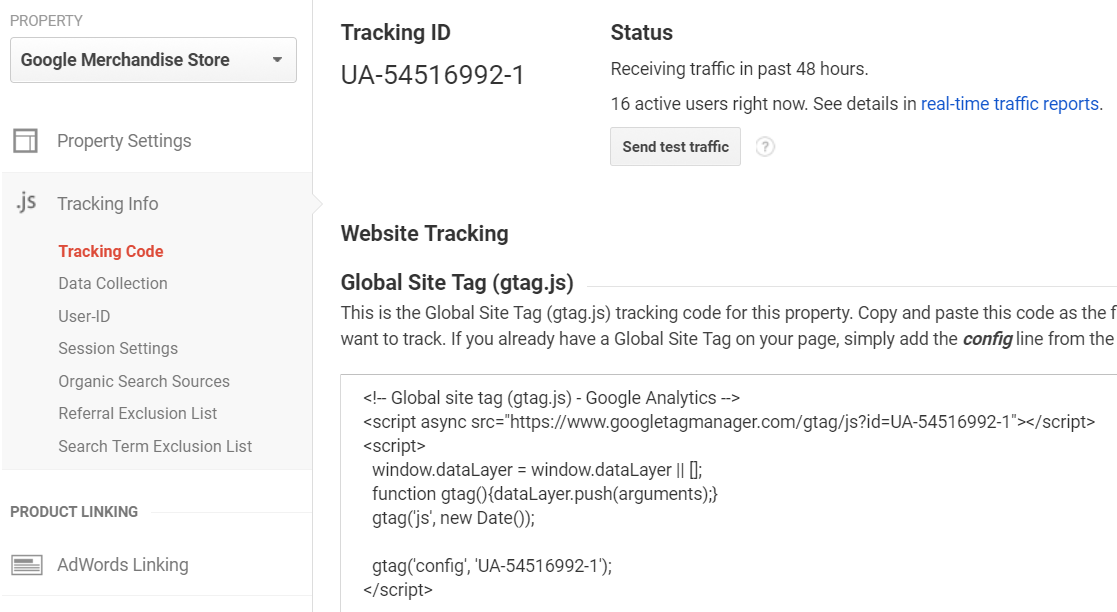 gtag.js tracking code