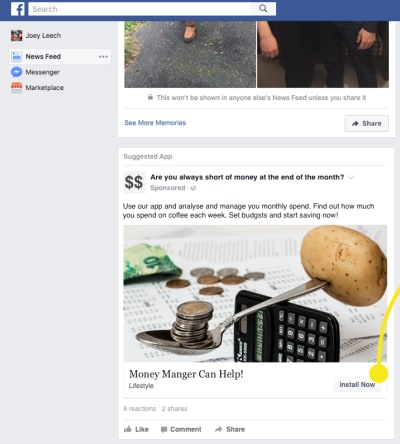 An example showing how easy it is to create a Facebook ad prototype interaction.