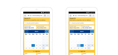 Booking.com's smart defaults help users avoid mistakes. You can't search in the past or before your arrival date.