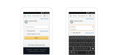 Amazon's show and hide password functionality
