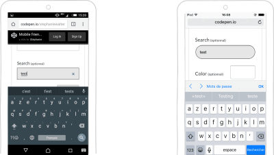 input type=search keyboard on Android and iOS
