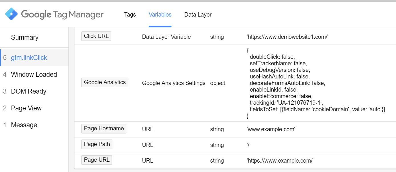 Outbound click variables