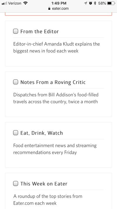 Eater newsletters