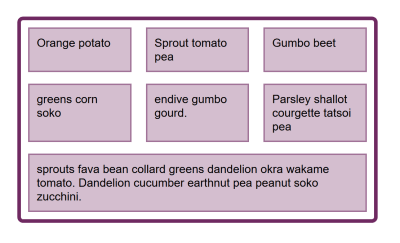Three rows of items with gutter spacing between them