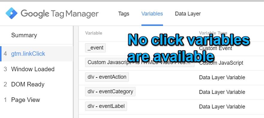 no click variables