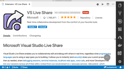 vs code live share extension readme page