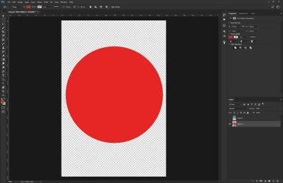 Red circle shape that's going to be used for a clipping mask