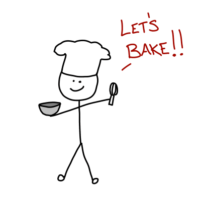 Drawing of a stick figure dressed as a chef who is ready to start baking.
