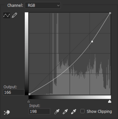 Curves histogram with one anchor point added