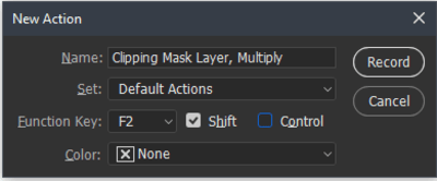 Custom name added and function key assigned in New Action box