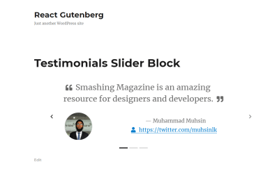 Testimonials Slider Block in the frontend