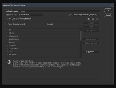 Keyboard Shortcuts and Menus option open, displaying the shortcuts for the Panel Menus