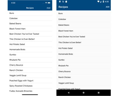 Screenshot of recipe list screen on iOS and Android