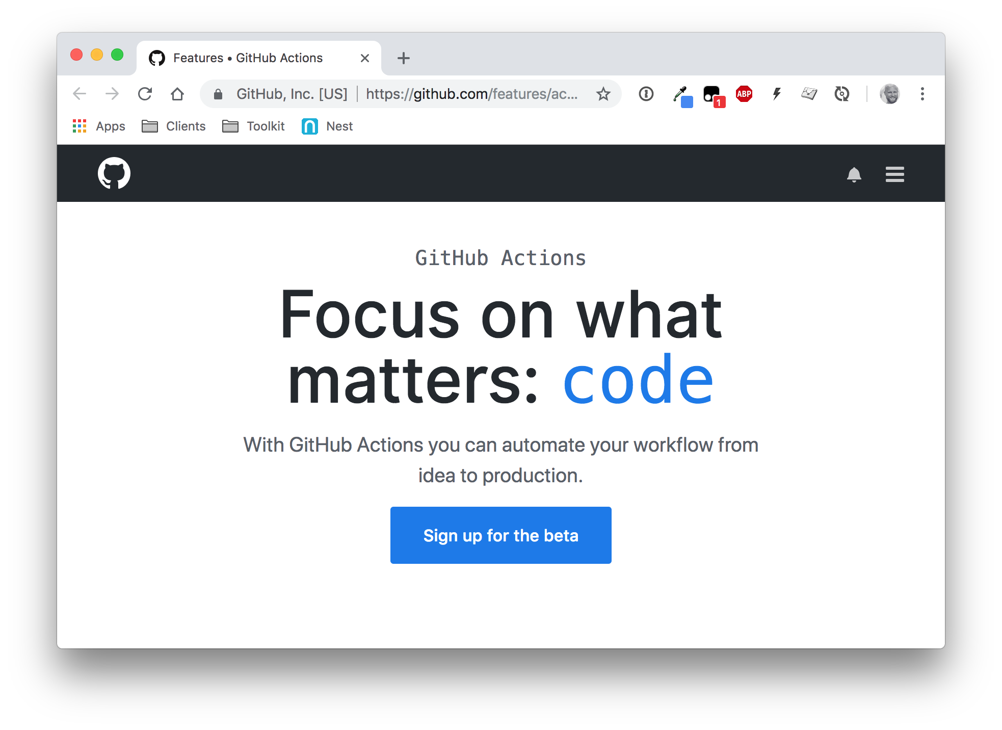 A screenshot of the GitHub Actions beta site showing a large blue button to click to join the beta.