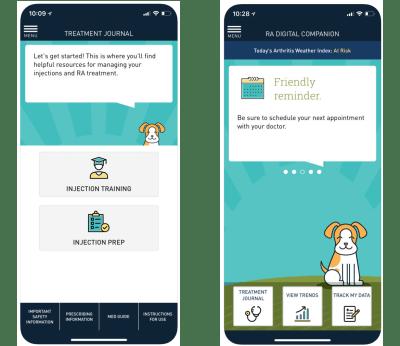 Sanofi's RA Digital Companion app focuses on helpful resources and uses encouraging language.