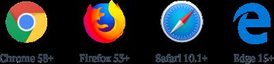 Firefox >= 53; Edge >= 15; Chrome >= 58; iOS >= 10.1