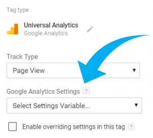 Google Analytics Settings Drop-down