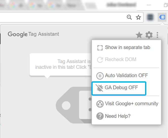 GA Debugger in Tag Assistant
