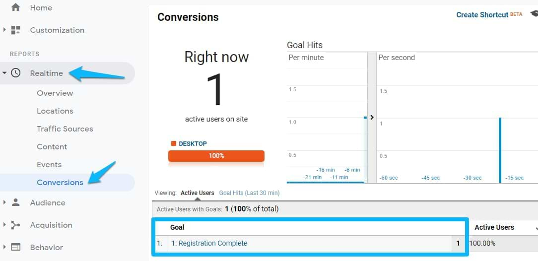 google analytics real time conversions report