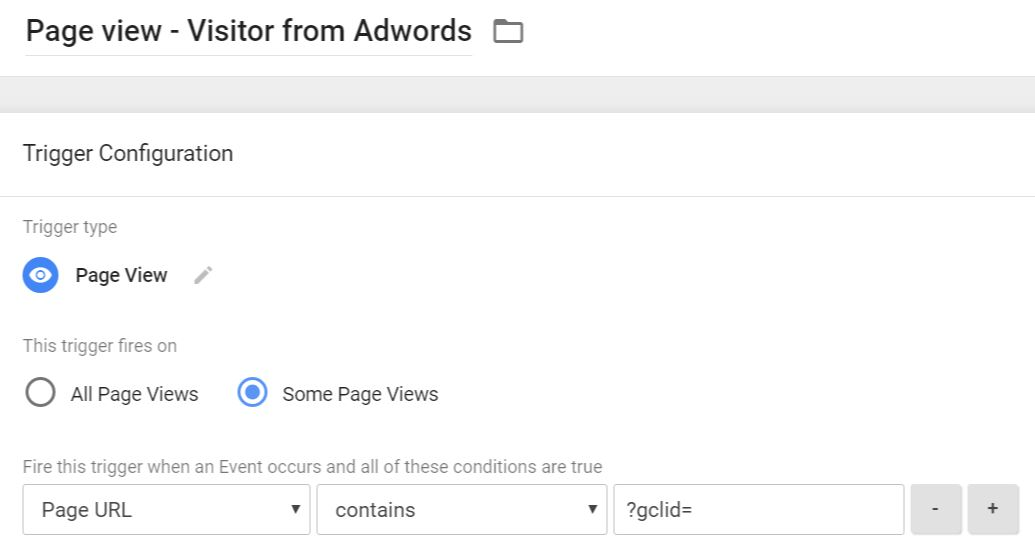 Trigger - Visitor from Adwords
